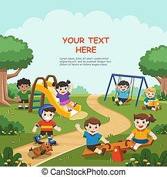 kinder, zusammen, spaß, glücklich, spielen, draußen., aufgeregt, haben, kinder, abbildung, playground.