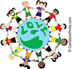 Kinderflaggenhemden lieben Globus