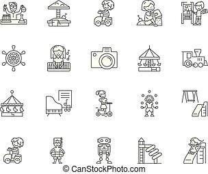 Kinderunterhaltungs-Symbole, Zeichen, Vektorsatz, skizziertes Illustrationskonzept.
