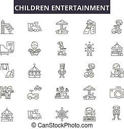 Kinderunterhaltungs-Symbole, Zeichensatz, Vektor. Kinder-Entertainment-Konzept, Illustration: Unterhaltung, Spaß, Kind, Spielzeug