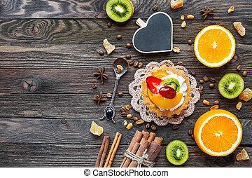 kiwi, oranges., herz, fruechte, text., hintergrund, hölzern, torte, gewürz, ansicht, oberseite, rustic, lay., tafel, wohnung