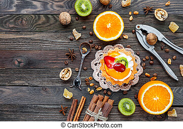 kiwi, wohnung, hölzerne spitze, text., rustic, lay., fruechte, ort, hintergrund, ansicht, gewürz, oranges., torte