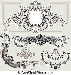 Klassische Blumendekorationselemente