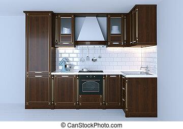 Klassische Holzküche mit weißem Fußboden 3D Render.