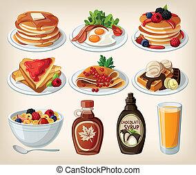 Klassisches Frühstücks Cartoon-Set