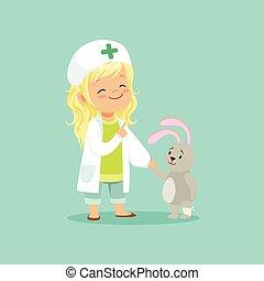 kleid, patient, besitz, sie, doktor, hut, medizin, zeichen, wohnung, kaninchen, leg., krankes kind, töchterchen, hand, bezaubernd, karikatur