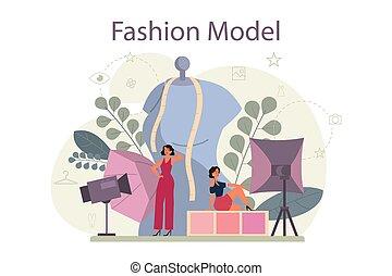 kleidung, neuer mann, mode, frau, darstellen, modell, concept.