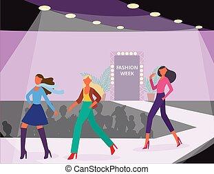kleidung, -, wohnung, darstellen, mannequins, weisen, vektor, illustration.