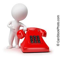 klein, 3d, -, telefon, leute