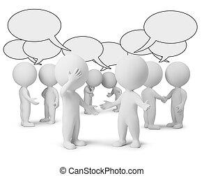 klein, diskussion, 3d, -, leute