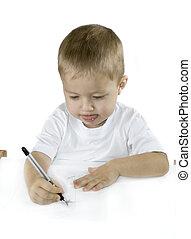 klein, junge, weißes, freigestellt, zeichnung