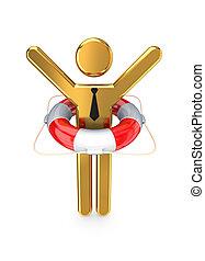 klein, person, lifebuoy., 3d
