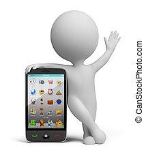 klein, smartphone, -, 3d, leute