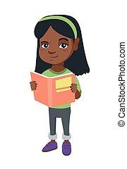 Kleine afrikanische amerikanische Schulmädchen liest ein Buch.