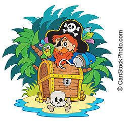 Kleine Insel und Pirat mit Haken.