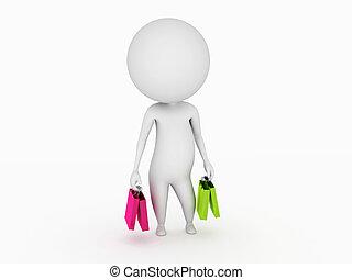 Kleiner Kerl mit Einkaufstüten