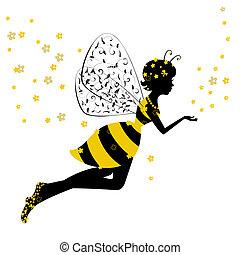 Kleines Bienenfee-Mädchen