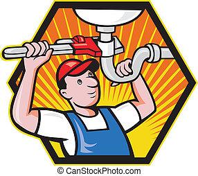 klempner, verstellbar, arbeiter, maulschlüssel