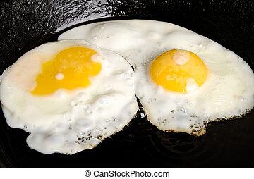 kletterte, zwei, eier, pfanne, nahaufnahme