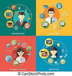 klicken, geschaeftswelt, kontakt, buero, firma, web, satz, infographics, vektor, wohnung, elemente, kunden, über, service, telefon, website, design, hilfe, unterstuetzung, heiligenbilder, informationen, abbildung, rufen, begriff