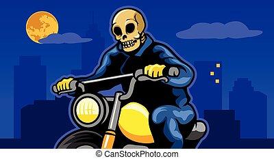 Kluger Motorradfahrer in der Stadtnacht.