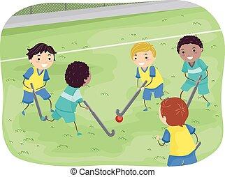 knaben, stickman, hockey, feld