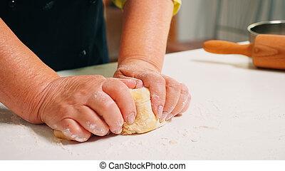 kneten, aufschließen, hände, großmutter