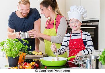 kochen, familie, zusammen, kueche