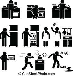kochen, wäsche, mann, kueche