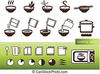 Kochzeichen, für Handbücher zum Packen
