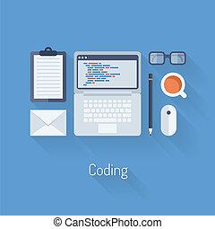 Kodieren und programmieren flache Illustration