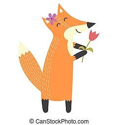 Komisch isolierter Fuchs mit einer Blume