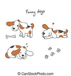 Komische Karikaturhunde mit Knochen.