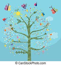 Komische Karte mit Baum und Schmetterlingen für Kinder.