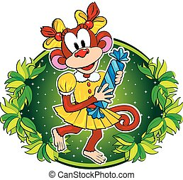 Komischer Affe mit Süßigkeiten. Vector Charakter.