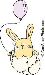 Komischer Eierhase mit einem Ballon.