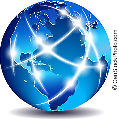 kommunikation, global, welt, handel