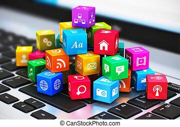 kommunikation, medien, begriff, edv, internet