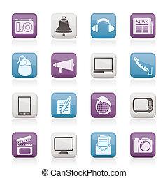Kommunikations- und Medien-Icons.