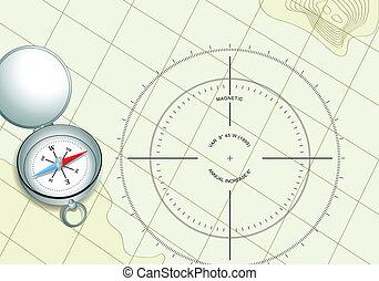 Kompass auf der Navigationskarte