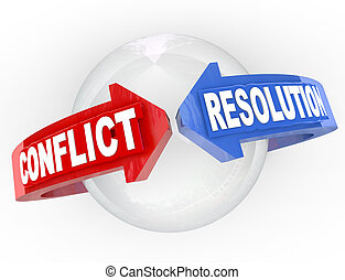 Konfliktlösungen lösen Streitpfeile aus, die sich einigen