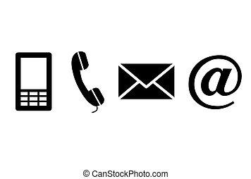 Kontaktieren Sie schwarze Symbole.