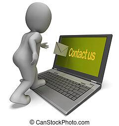 Kontaktieren Sie uns auf Laptop, zeigt Helpdesk Kommunikation und Hilfe