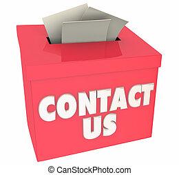 Kontaktieren Sie uns Fragen erhalten Hilfe Feedbackbox 3d Illustration.