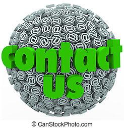 Kontaktieren Sie uns mit dem Symbol der Sphäre von Kundinnen