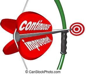 Kontinuierliche Verbesserung Pfeil konstant bessere Fortschritte.