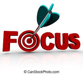 Konzentriere dich auf das Wort mit einem Pfeil, der das Ziel trifft