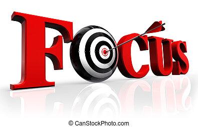 Konzentriere rotes Wort und konzeptionelles Ziel