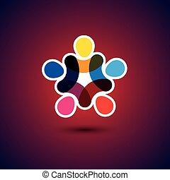 Konzept der Gemeinschaft Einigkeit, Solidarität und Freundschaft - Vektor gra