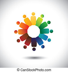 Konzept der gemeinschaftlichen Einheit, Solidarität & Freundschaftsvektorgrafik. Diese Illustration repräsentiert auch farbenfrohe Kinder (Kinder), die im Kreis oder in der Vereinigung von Arbeitnehmern, Arbeitstreffen usw. zusammenarbeiten